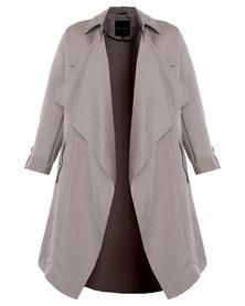 New Look Waterfall Duster Coat Grey
