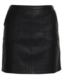 New Look PU A-Line Skirt Black