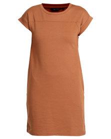 New Look T-shirt Dress Brown