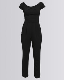 New Look Bardot Neck Twist Front Jumpsuit Black