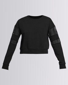 New Look Mesh Panel Long Sleeve Cropped Sweater Black
