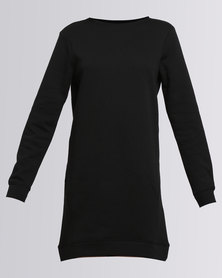 New Look Longline Sweater Dress Black
