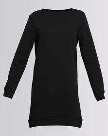 New Look Longline Sweater Dress Black