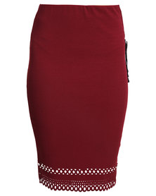 New Look Laser Cut Pencil Skirt Red