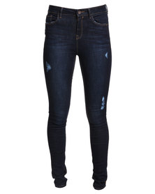 New Look Ben Rip Skinny Jeans Blue