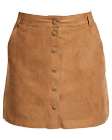 New Look Suedette Popper Front Skirt Tan