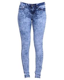 New Look Skinny Sapphire Acid Jam Jeans Blue