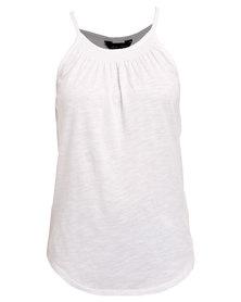 New Look White Shirred High Neck Vest White