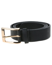 New Look Simple PU New Jeans Belt Black