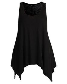 New Look Hanky Hem Vest Black