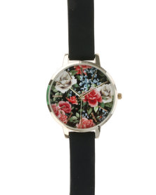 New Look Romantic Floral Dial Watch Silicone Black