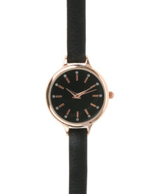 New Look Mini Bling Strap Watch Black