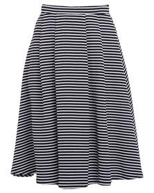 New Look Stripe Texture Balloon Midi Skirt Black