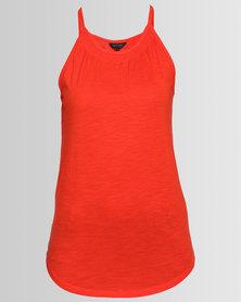New Look Shirred High Neck Vest Orange