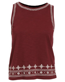 New Look Embroided Border Top Maroon