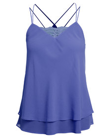 New Look Lace Trim Double Strap Layered Cami Blue