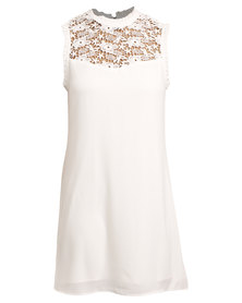 New Look Lace Panel Frill Sleeve Dress White