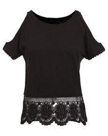New Look Black Lace Trim Cold Shoulder Top Black