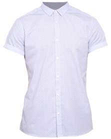 New Look SS Mini Stripe Motif Shirt White