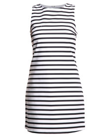 New Look Stripe Compact Cotton Dress White