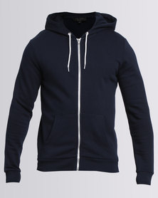 New Look Zip Up Hoodie Navy