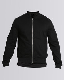 New Look Cotton Twill Bomber Jacket Black