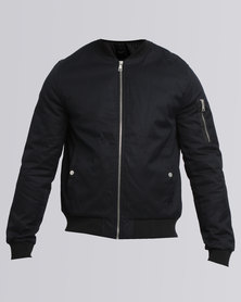 New Look Zip Sleeve Bomber Jacket Navy