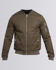 New Look Zip Sleeve Bomber Jacket Khaki
