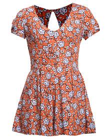New Look Jackson Floral C/S Playsuit Orange