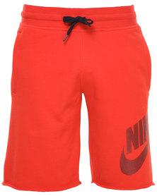 Nike AW77 FT Alumni Shorts Orange