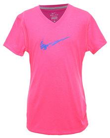 Nike Leg V-Neck Swoosh Fill 1 YT Tee Pink