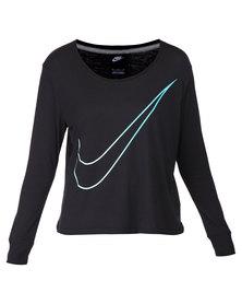Nike Prep Large Swoosh L/S Tee Black