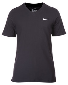 Nike V-Neck Embroidered Swoosh Tee Black