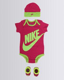 Nike Futura Logo 3 Pack Bodysuit Set Pink