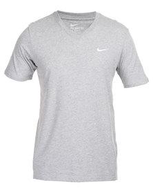 Nike V-Neck Embroidered Swoosh Tee Grey