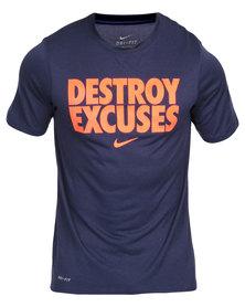 Nike Performance Legend Destroy Excuses Tee Navy