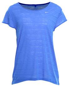 Nike Performance Run Breeze Stripe Top Blue