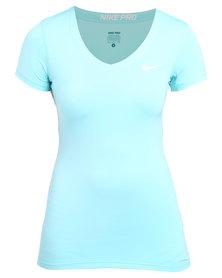 Nike Performance Pro SS V-neck Top Blue