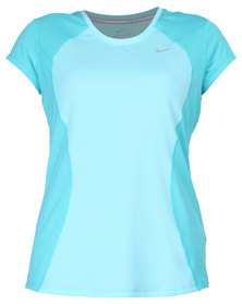 Nike Performance Racer S/S Top Turquoise