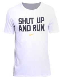 Nike Performance Run P Dri-Blend Shut Up Tee White