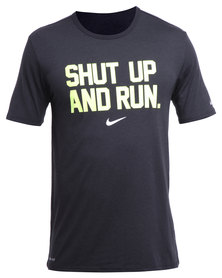 Nike Performance Dri-Blend Shut Up And Run Tee Black