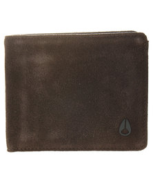 Nixon BI-Fold ID Coin Wallet Brown Suede