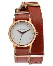 Nixon Kenzi Leather Wrap Watch Tan