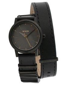 Nixon Kenzi Leather Wrap Watch All Black