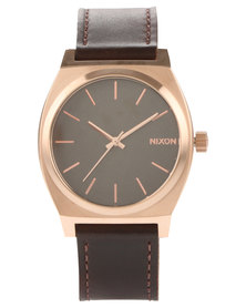 Nixon Leather Strap Time Teller Brown/Rose Gold