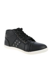 North Star Ladies High Top Sneakers With Stud Detail Black