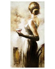 NovelOnline Lady with Wine Glass Canvas Painting Black