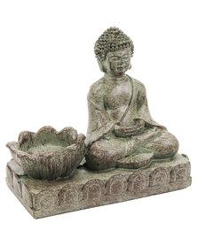 NovelOnline Sitting Buddha T Light Candle Holder Grey
