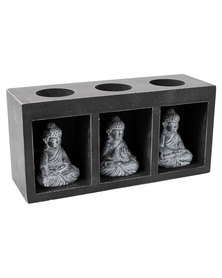NovelOnline 3-in-1 Buddha Candle Holder Brown and Grey
