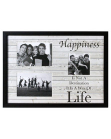 Happiness Multi Mount Photo Frame Black